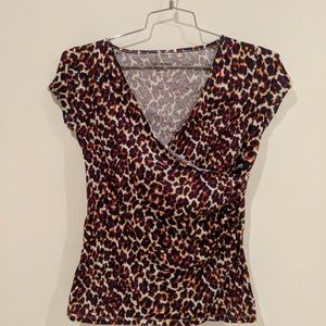 Merona animal print faux wrap shirt